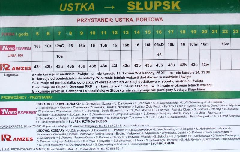 Rozkład jazdy Ustka - Słupsk - Ustka (Ramzes i NORD)